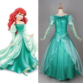 New Custom Made Fantasia Halloween Wedding Party Little Princess Ariel Dress Women Adult Ariel Mermaid Costume