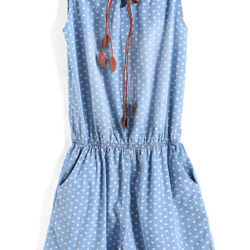 Light Blue Spaghetti Strap Hearts Print Denim Jumpsuit