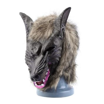 Latex Animal Wolf Head Mask with Hair Halloween Party Fancy Scary Dress Costume Horror Anonymous Face Masks Adults and Children