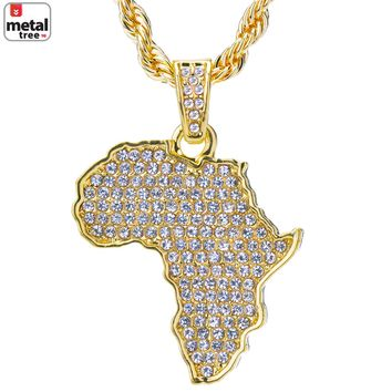 "Jewelry Kay style Men's 14k Gold Plated Iced Out African Map Pendant 24"" Rope Chain HC 1126 G"