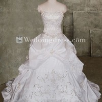 Taffeta Embroidered Ball Gown Wedding Dress with Basque Waist