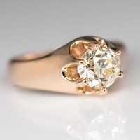 Antique Victorian Solitaire Claw Engagement Ring 14K Gold 1900's