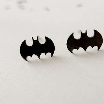 tiny black batman earrings by LemonTreeLand on Etsy