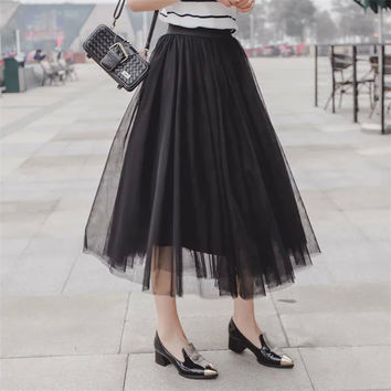 Women's Fashion Summer Lace Pleated Dress Skirt [4920260292]