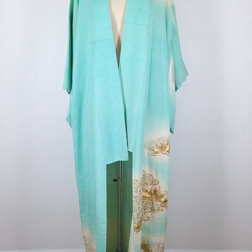 Vintage Kimono / Aqua Blue Ombre Waves / Gold Embroidered Peacock Feathers / Long Robe / Art Deco / Wedding Lingerie