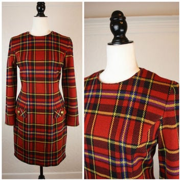 Gorgeous Vintage 60's Joan Leslie waisted plaid dress; knee length; red; yellow; black and purple; Size small-Medium;