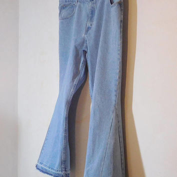 Mens Bell Bottom Jeans, Plus Size, High Waisted, 48 Waist, Upcycled Clothing, Hippie Clothes, Trashed, 70s, Patched, Bellbottom, Boho
