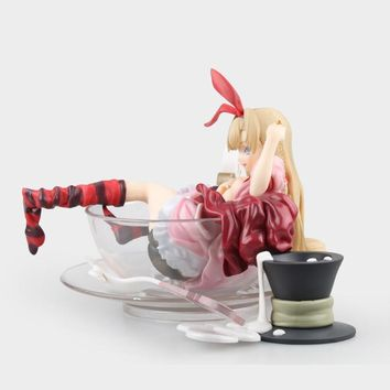 13cm Sexy Anime Alice In Wonderland Action Figure Alice Tea Cup Lying Ver Model Collection Decoration Adult Kids Lovely Doll