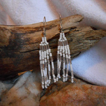 Hand Beaded Brickstitch Fringe Earrings, Native American Inspired, White, Silver and Clear Glass Seed Beads, Handmade
