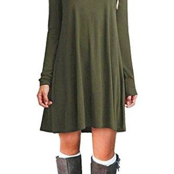 POGTMM Womens Long Sleeve Flowy Swing Tunic TShirt Dress