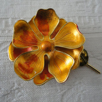 Vintage West Germany Signed Rust Orange Tiered Flower Enamel Brooch Pin
