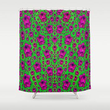 Fantasy Valentine in floral love and peace time  Shower Curtain by Pepita Selles
