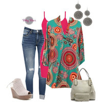 (pre-order) Set 442: Turquoise Geo Blouse (includes top, tank & earrings)