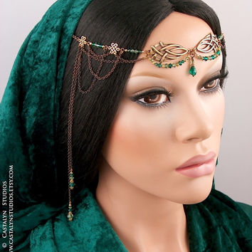 Silmara - Celtic Knot Emerald Green Swarovski Antique Brass Renaissance Headpiece