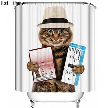 Cat Pattern  Waterproof Shower Curtains 18 Styles