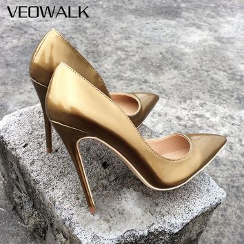 Veowalk Brand Patent Lether Women Sexy Pointed Toes High Heels Ladies Evening Party Pumps Wedding Bride Shoes Customized Accept
