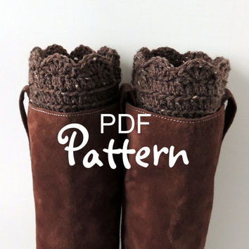 PDF CROCHET PATTERN, FANtastic Boot Cuffs, Crochet Boot Cuffs, Crochet Boot Toppers, Fan Edge Design, Digital Download, Lots of Photos