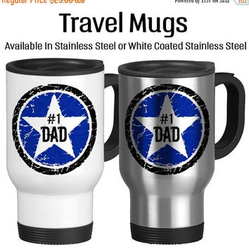Number One Dad, Rock Star Father, I Love You Dad, Best Dad Ever, Birthday Gift For Dad, Father's Day Gift, Travel Mug, Star, Blue