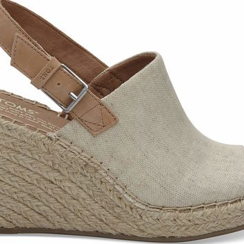 TOMS - Women's Monica Wedged Natural Oxford Sandals