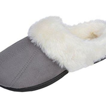 Beverly Rock Womens Faux Fur Lined Plush Clog Slipper With Detailed Stitching