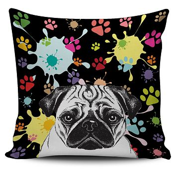 Artsy Pug Pillow Cover