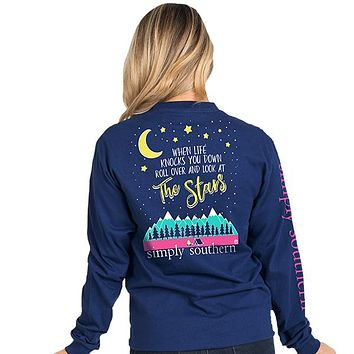 When Life Knocks You Down Roll Over And Look at The Stars - SS - Adult Long Sleeve