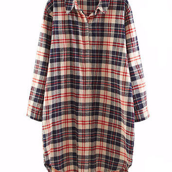 Plaid Long Sleeve Pointed Flat Collar Lapel Blouse