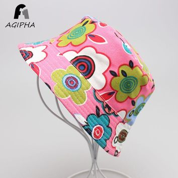 Colorful Print Summer Kids Children Bucket Hats Cap Love Flower Pattern Autumn Caps For Boys Girls Age 2-6 Years Old Type XM01