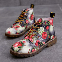 Fashion sweet flowers lace boots