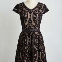 Mid-length Short Sleeves A-line Floating on Aria Dress