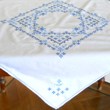 embroidered vintage tablecloth cross stitch tablecloth blue vintage tablecloth blue embroidered tablecloth shabby chic