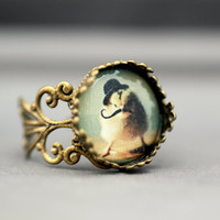 Antique Bronze Filigree Ring Chick in A Black Bowler Hat and Mustache Brass Adjustable Band