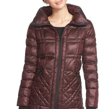 Women's Bernardo Glossy Packable Mixed Quilted Jacket with Down & PrimaLoft Fill,
