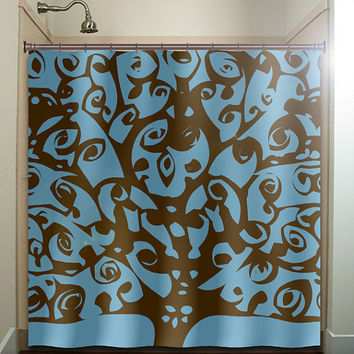 brown blue ward off evil eye tree shower curtain bathroom decor fabric kids bath white black custom duvet cover rug mat window