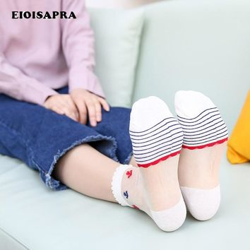 [EIOISAPRA]Anchor Embroidery Lace Glass Transparent Socks Striped Harajuku Skarpetki Socks Women Thin Simple Calcetines Mujer