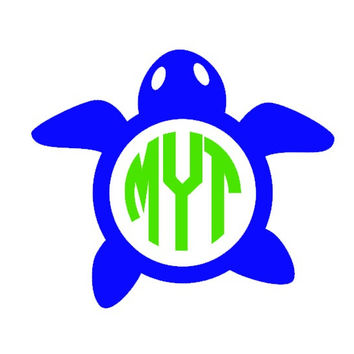 Turtle Monogram Decal - Car Decal - Nautical - Ocean - Beach