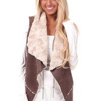 Mushroom Open Vest with Faux Fur Lining