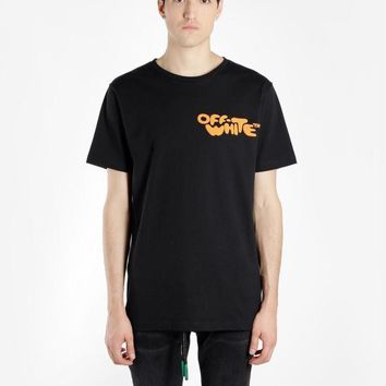 HCXX 19July 437 Off White impressionism Letter Print Men and Women Short Sleeve Loose Cotton T-Shirt
