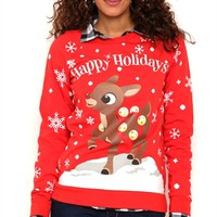Long Sleeve French Terry Top with Snowflake Rudolph Print