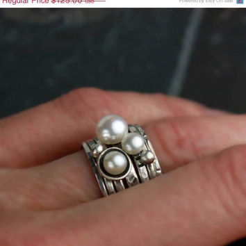 ON SALE Freshwater Pearl Stacking Rings - Modern, Mixed Textures, Set of 7