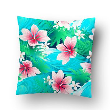 Aqua and Pink Hibiscus Hawaiian Throw Pillow Case from Surfer Bedding