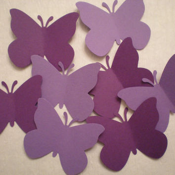 Large Purple Butterfly die cuts-Butterfly Punch, Paper Butterfly, Butterfly Decorations,Wedding Die Cuts-set of 50