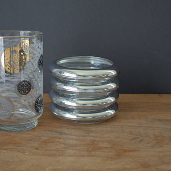 Vintage Glass Chrome Beverage Coasters, 1950s Chrome and Glass Coaster Set
