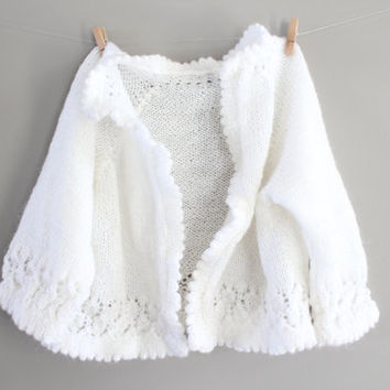 Hand Knitted Baby Girl Crochet Cream Cardigan Baby Girl Matinee Coat Baptism clothes Handmade Cardigan Baby Sweater Size 0 to 3 months