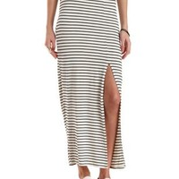 Black/Ivory Striped Single Slit Maxi Skirt by Charlotte Russe