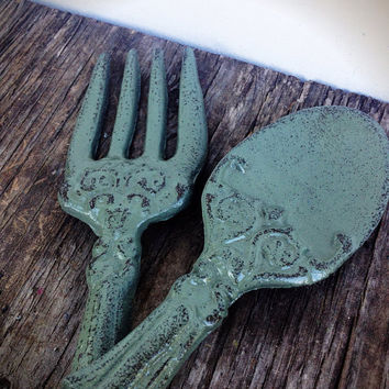 Earthy Sage Green Kitchen Wall Decor - Ornate Fork & Spoon Wall Art - Cottage Country Shabby Chic