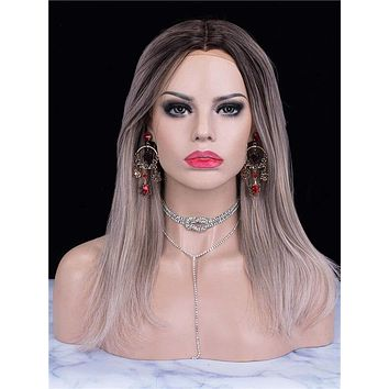 Balayge Silver Grey Ombre Straight Synthetic Lace Front Wig
