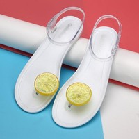 Fruit Flip Flops Lemon Jelly Flat Beach Sandals