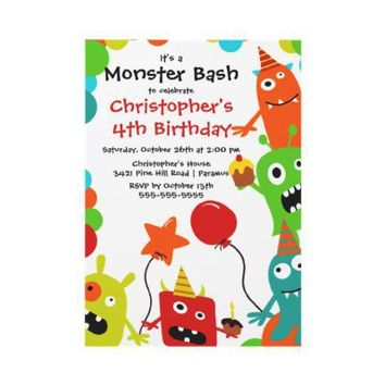 CUTE Little Monster Bash Birthday Party Custom Invites from Zazzle.com