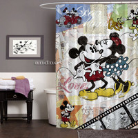 """Mickey And Minnie Mouse Vintage New Design High Quality Shower Curtain 60"""" x 72"""""""